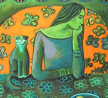 Green girl, orange butterflies, jolly cat by IvonaTorovin