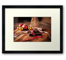 Christmas table with brownies Framed Print