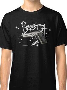 Beretta 9mm Pistol -white script Classic T-Shirt