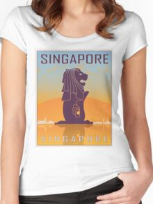 Singapore vintage poster Women's Fitted Scoop T-Shirt