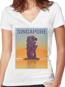 Singapore vintage poster Women's Fitted V-Neck T-Shirt
