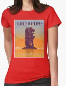 Singapore vintage poster Womens Fitted T-Shirt