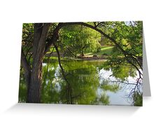 """On the Bench By the Pond"" Greeting Card"