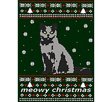 cat ugly christmas sweater Photographic Print