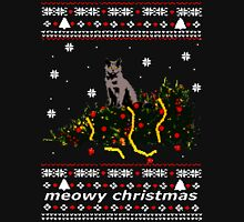 ugly sweater - christmas tree knocked down by a cat Long Sleeve T-Shirt