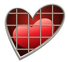 heart in jail drawn in cartoon style by devaleta