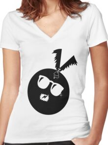 unique funny bat's hijacking graphic art Women's Fitted V-Neck T-Shirt