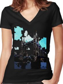 London Tower Bridge UK Women's Fitted V-Neck T-Shirt