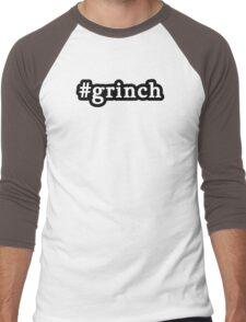 Grinch - Christmas - Hashtag - Black & White Men's Baseball ¾ T-Shirt