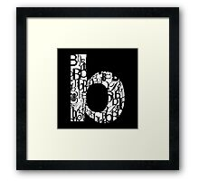 Small Letter B, black background Framed Print
