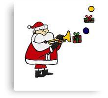 Funny Christmas Santa Playing Trumpet Canvas Print
