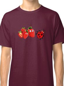 funny strawberries & cute lady bug graphic art Classic T-Shirt
