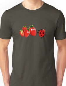 funny strawberries & cute lady bug graphic art Unisex T-Shirt