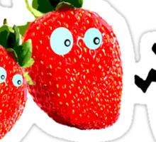 funny strawberries & cute lady bug graphic art Sticker