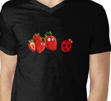 funny strawberries & cute lady bug graphic art Mens V-Neck T-Shirt
