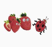 funny strawberries & cute lady bug graphic art by cheeckymonkey