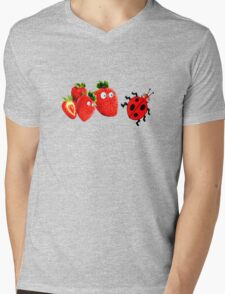funny strawberries & cute lady bug graphic art Mens V-Neck T-Shirt