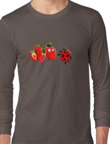 funny  strawberries & cute lady bug graphic art Long Sleeve T-Shirt