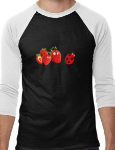 funny strawberries & cute lady bug graphic art Men's Baseball ¾ T-Shirt