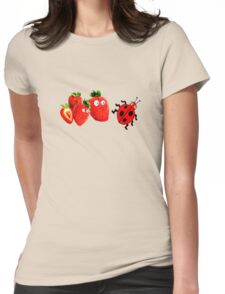funny strawberries & cute lady bug graphic art Womens Fitted T-Shirt