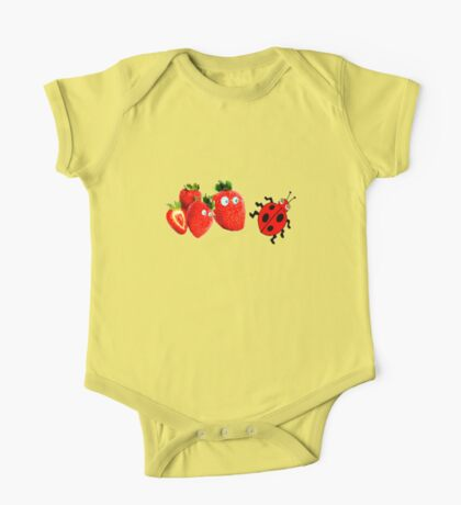 funny strawberries & cute lady bug graphic art One Piece - Short Sleeve