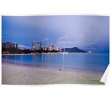 Waikiki and Diamonhead at night Poster