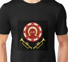 Horseshoe Casino chip with lettering Lucky and two trumpets Unisex T-Shirt