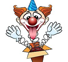 laugthing clown jumps out of surprised box.  by devaleta