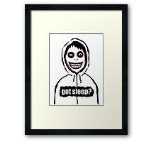 Jeff The Killer Got Sleep? Framed Print