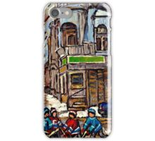 HOCKEY GAME NEAR BUS STOP IN POINTE ST.CHARLES WITH CONNIE'S PIZZA MONTREAL WINTER HOCKEY SCENE iPhone Case/Skin