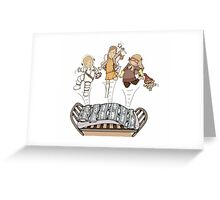 caught bouncing on the bed! Greeting Card
