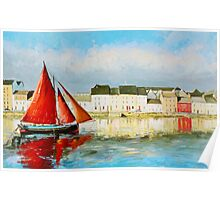 Leaving Port - Galway Hooker going out to sea Poster