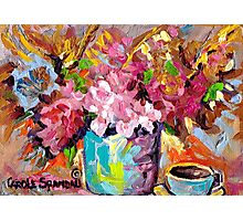 BEAUTIFUL ABSTRACT FLORAL BOUQUET WITH COFFEE CUP ORIGINAL PAINTING FOR SALE Photographic Print