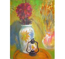 red flower old lamp - original painting Photographic Print