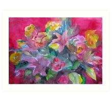 Flower bouquet deep pink original watercolour  Art Print