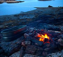 Fire on the beach. Maine by Charles Blier