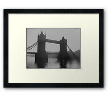 London tower bridge in the fog Framed Print