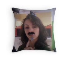 sticky facial hair at the bowling alley  Throw Pillow