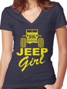 Jeep Girl Yellow Women's Fitted V-Neck T-Shirt