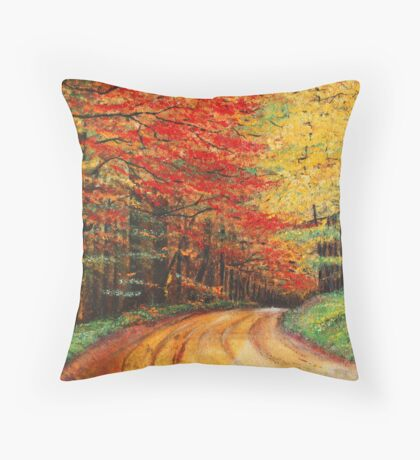 Forest Road Oil Painting Throw Pillow