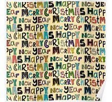 cream merry christmas and happy new year Poster