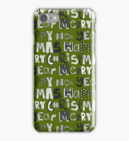 green simple merry christmas and happy new year iPhone Case/Skin