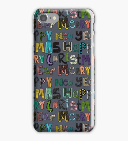metal merry christmas and happy new year iPhone Case/Skin