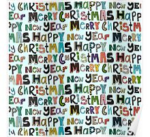 palest aqua merry christmas and happy new year Poster