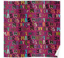 pink merry christmas and happy new year Poster