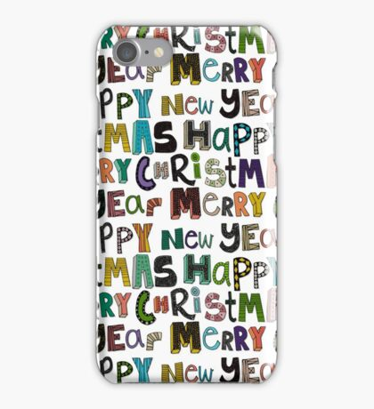 white merry christmas and happy new year iPhone Case/Skin