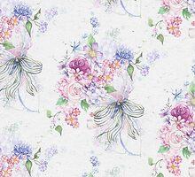 Elegant pink vintage roses ribbon floral pattern  by Maria Fernandes