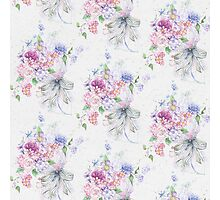 Elegant pink vintage roses ribbon floral pattern  Photographic Print