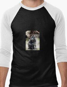 Black macaque monkey sitting Men's Baseball ¾ T-Shirt