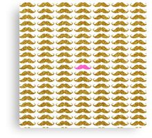 Funny pink faux gold glitter mustaches pattern Canvas Print